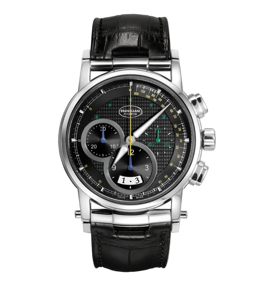 Der Chronograph im CBF-Set zählt die Sekunden im Zentrum, die Minuten und Stunden auf den schwarzen Totalisatoren