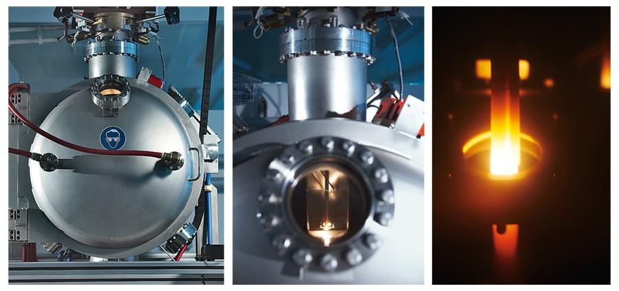 Das Parachrom-Material entsteht in einem Vakuum-Schmelzofen. Durch ein Guckloch kann man dem Legierungsprozess zuschauen