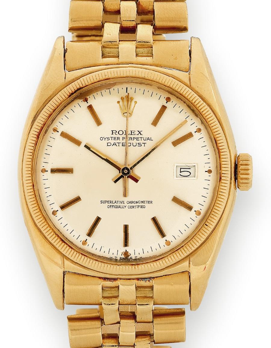 Erstzeit-Datejust: Das Modell in Gelbgold wird 1950 hergestellt und trägt noch die Münzrand-Lünette. Gut zu erkennen ist hier das Jubilee-Band mit seinem starken »Stretch«.