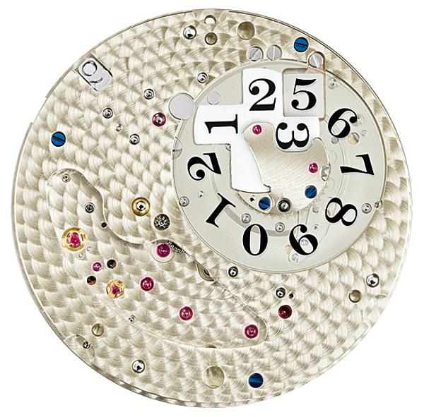 Bei A. Lange & Söhne stellt man die Zehnerziffern des Großdatums auf einem Kreuz dar und die Einer auf einer Scheibe, die sich unter diesem dreht