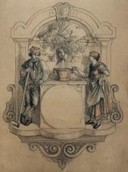 """""""Brunnenschild"""", Entwurf von Lucian Reich, 1853: Robert Gerwig sammelt ab 1850/51 Musterblätter für die Uhrengestaltung, die den Stil der Schwarzwalduhren stark beeinflussen"""