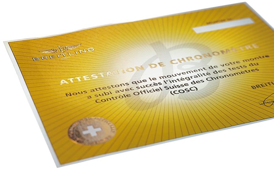 Breitling lässt alle seine Werke von der offiziellen Schweizer Prüfstelle COSC als Chronometer zertifizieren