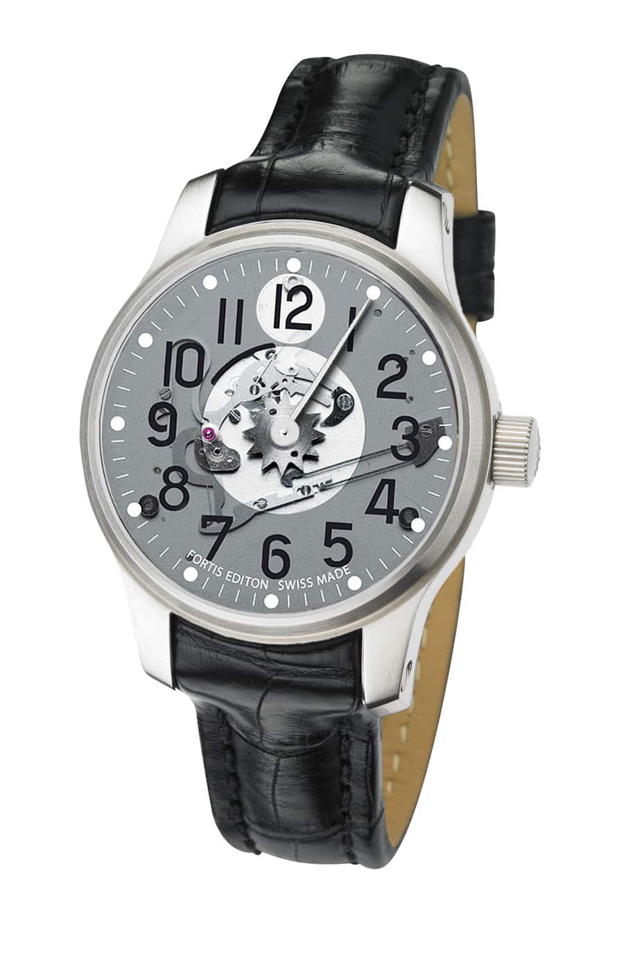 Fortis Jumping Hour transparentes Zifferblatt