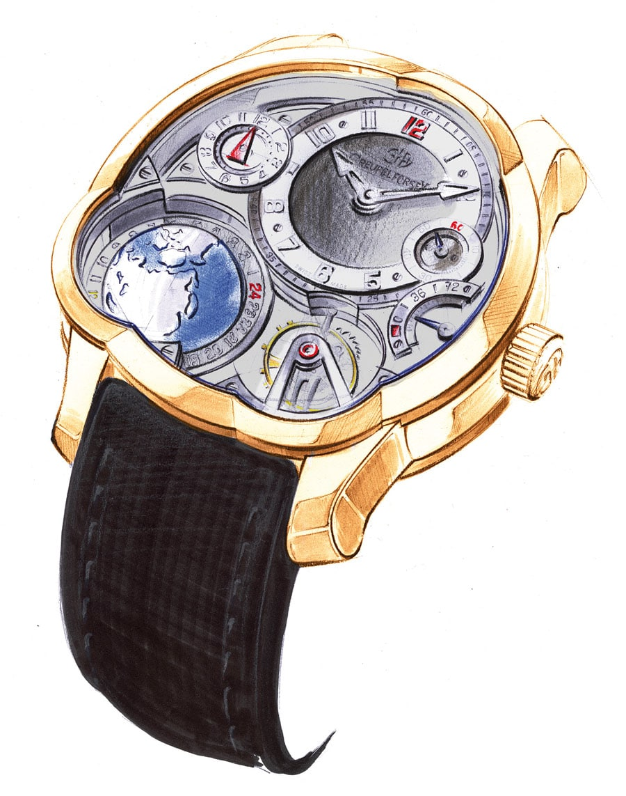 Greubel Forsey GMT Rotgold sketch