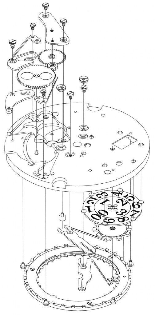 Glashütte Original: Die Explosionsdarstellung zeigt die Positionierung der beiden konzentrisch liegenden Scheiben für das Panoramadatum