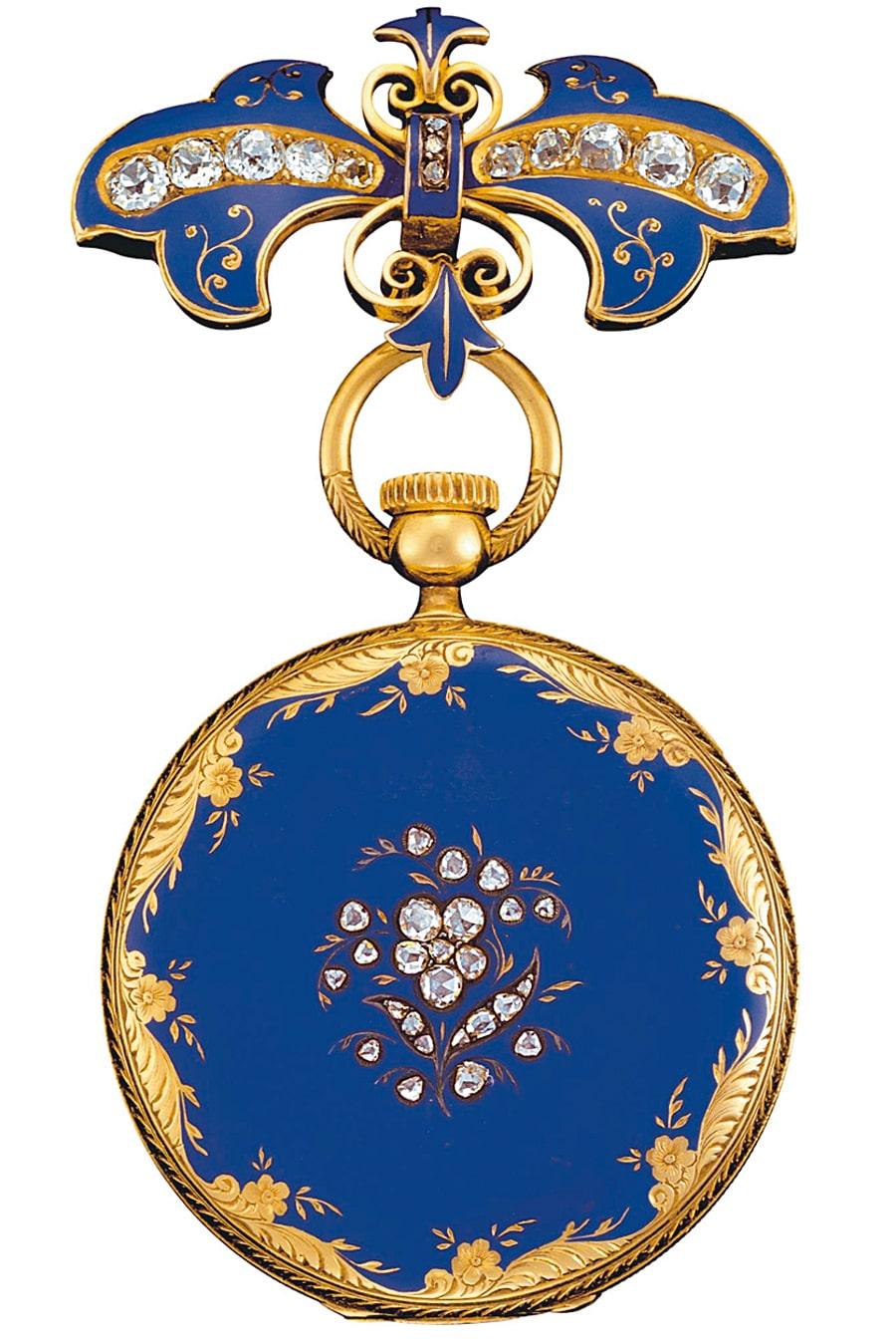 Dank Königin Victoria von England erschließt sich Patek Philippe der Adel Europas. Sie bestellt 1850/51 diese Uhr mit Aufzug ohne Schlüssel und lädt die Partner Patek und Philippe an ihren Hof ein.