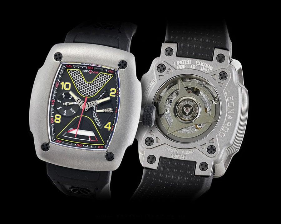 Boris Pjanic vertritt die Uhrenmarke Vergo Avius aus Italien: hier das erste Modell Leonardo