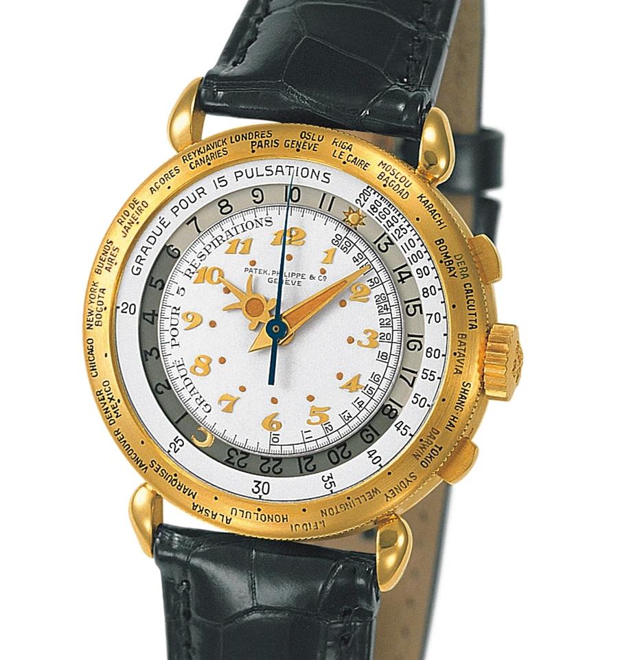 In den 1930er-Jahren erscheinen die ersten Weltzeituhren aus dem Hause Patek Philippe. Weltzeit- Chronograph aus Gelbgold mit 33 Referenzstädten und  Pulsometer-Skala, hergestellt im Jahr 1940.