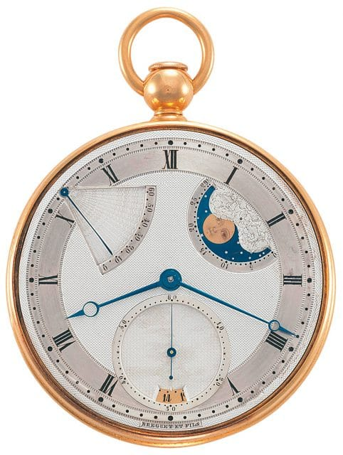 Abraham-Louis Breguet, Erfinder des Tourbillons, ist eine eigene Abteilung gewidmet. Taschenuhr mit Automatikaufzug und Viertelstundenrepetition, signiert »Breguet & Fils«, Paris, 1810/1829.