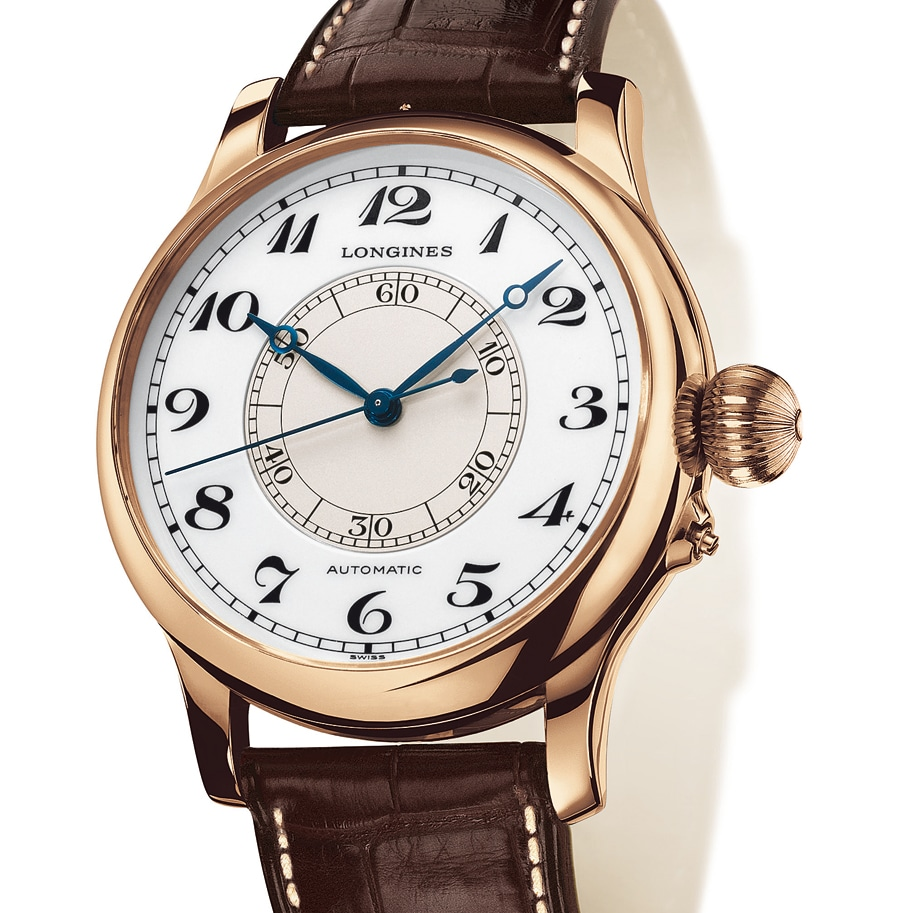 Groß und maskulin gestaltet: die roségoldene Weems Second-Setting Watch mit Automatikkaliber L699