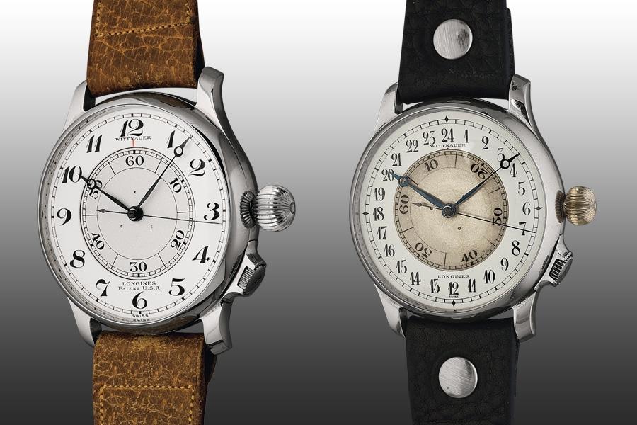 Weems' Idee: Durch ein verstellbares inneres Zifferblatt konnte der Pilot die Uhr sekundengenau mit dem Zeitnormal synchronisieren. Eine Variante bildete die Weems-Uhr mit 24-Stunden-Zifferblatt (rechts)