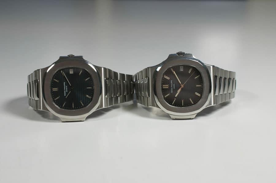Patek Philippe Nautilus: links die Referenz 3700/1A (1976) und rechts die 5711/1A (2006)