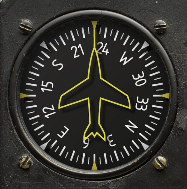 Die Heading Indicator basiert auf dem Kursanzeiger – auch Kreiselkurs genannt. Dieser zeigt den genauen Kurs des Flugzeugs während des Fluges an