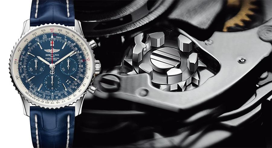 Breitling Navitimer 01 Blue Sky Limited Edition mit Glasboden und Kaliber B01 mit Schaltrad (auf 500 Stück limitiert, 7.270 Euro)