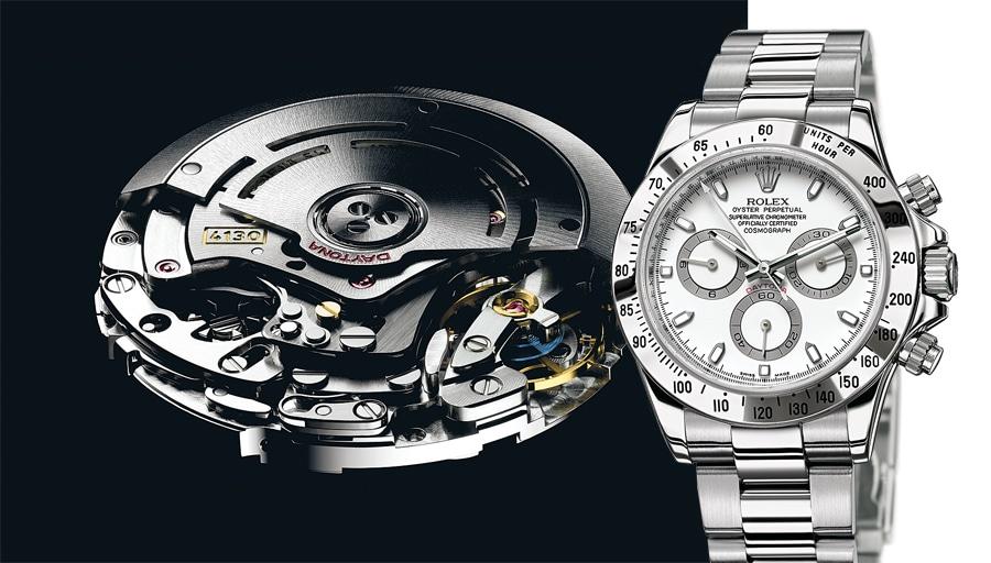 Das Rolex-Kaliber 4130 mit Schaltrad tickt in der Rolex Cosmograph Daytona (Edelstahl, 9.650 Euro)