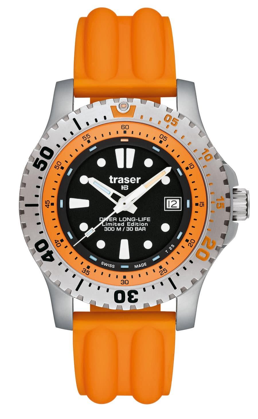 traser® H3 Diver Long-Life Orange Limited Edition mit Silikonband