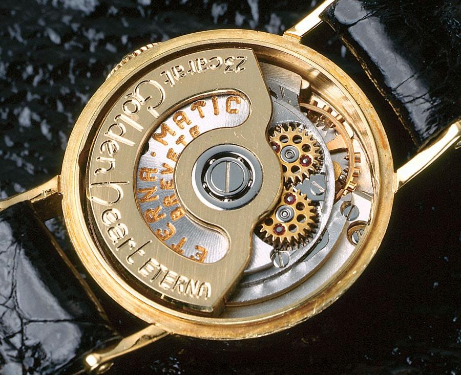 Eterna: Kaliber 2365 mit Massivgold-Kugellagerrotor von 1958