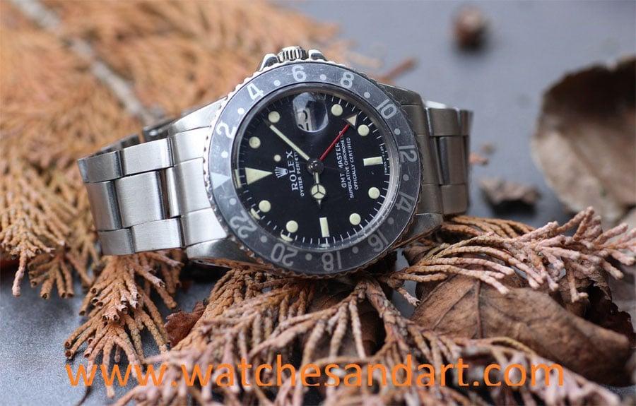 Rolex GMT Master 1675 mit schwarzer Lünette in gefadetem Zustand