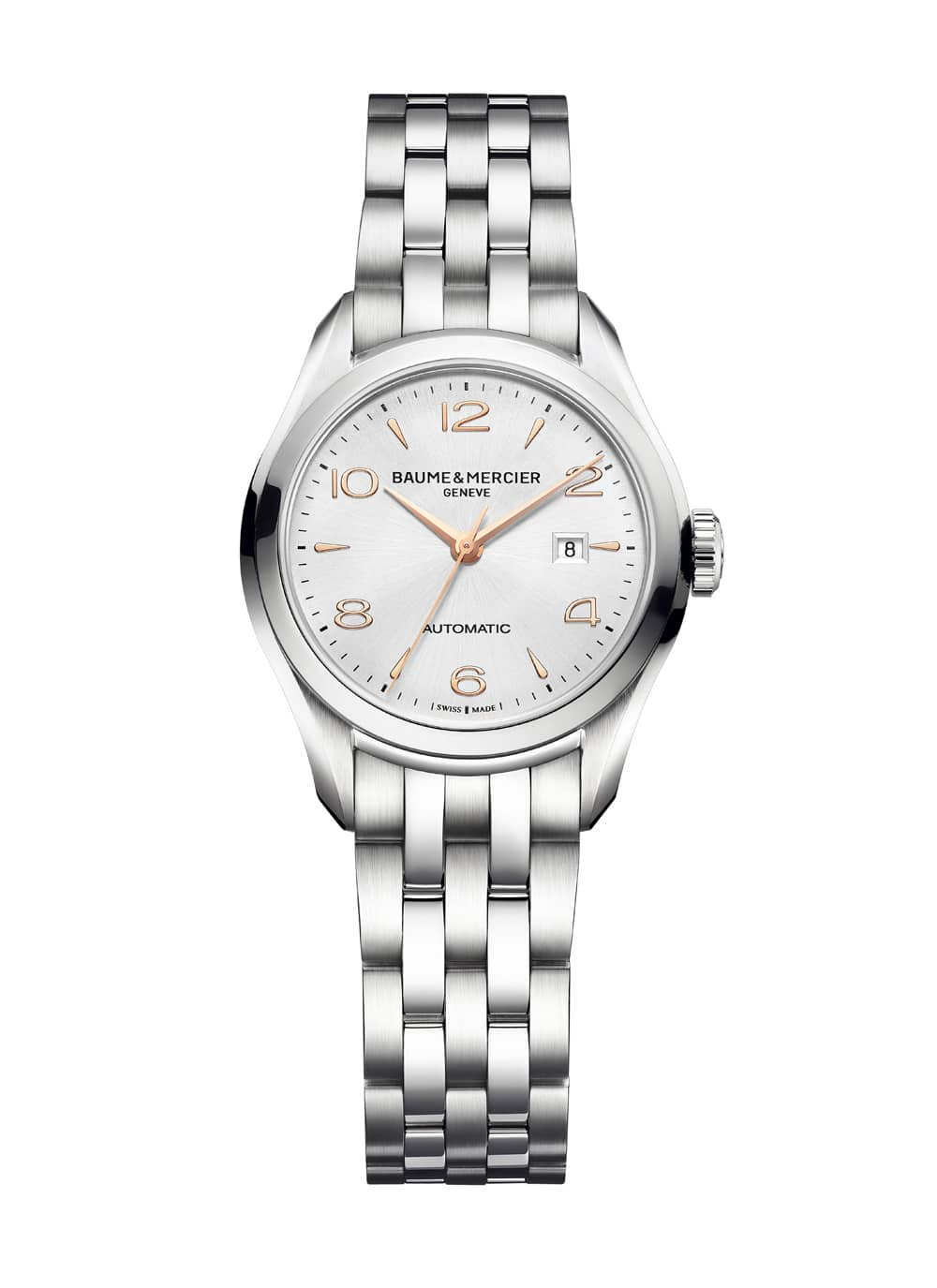 Baume & Mercier: Clifton 30mm Automatik, silberfarbenes Zifferblatt, 10150