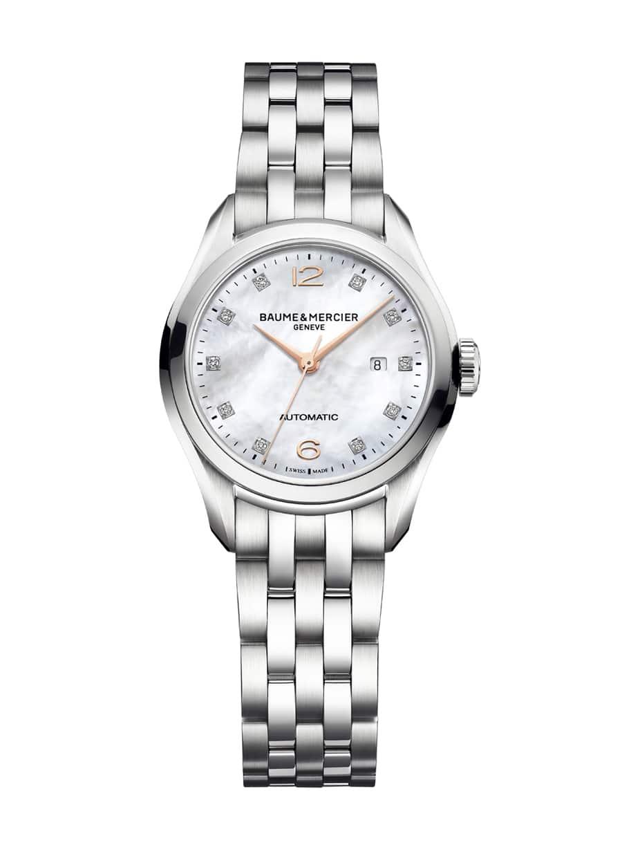 Baume & Mercier: Clifton 30mm Automatik, Edelstahl, Perlmuttzifferblatt und Diamantindizes, 10151