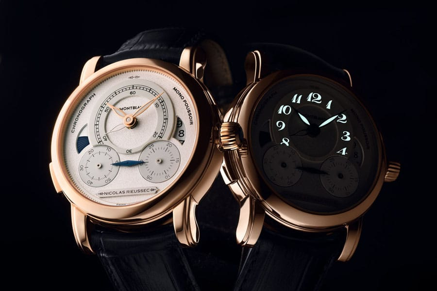 Montblanc: Homage to Nicolas Rieussec, Rotgold mit Nachtansicht