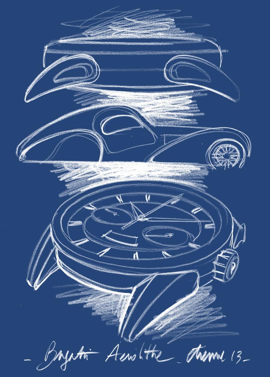 Parmigiani: Bugatti Aérolithe Flyback Chronograph, Zeichnung
