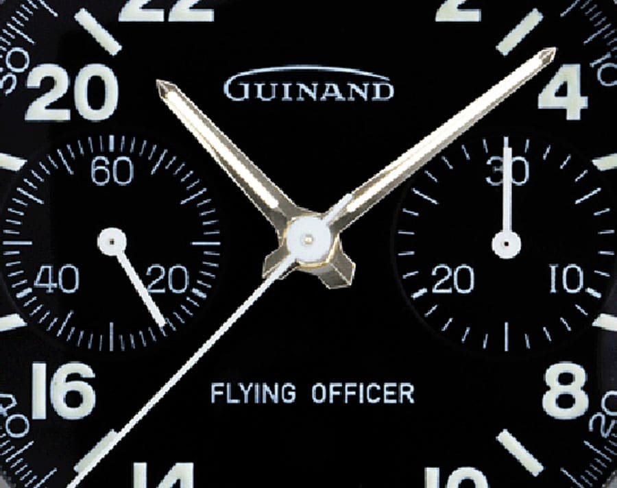 Guinand: Zifferblattausschnitt der Flying Officer