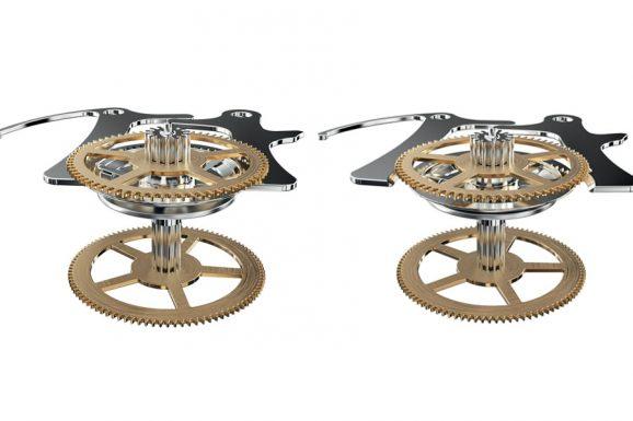 Vertikale Kupplung bei Montblanc: Die Räder der Stoppfunktion (oben) und des eigentlichen Werkes liegen auf derselben Welle; beim Starten des Chronographen wird eine Zange auseinander gezogen (rechts), sodass zwei Scheiben durch Reibung den Chronographen mit dem Uhrwerk verbinden