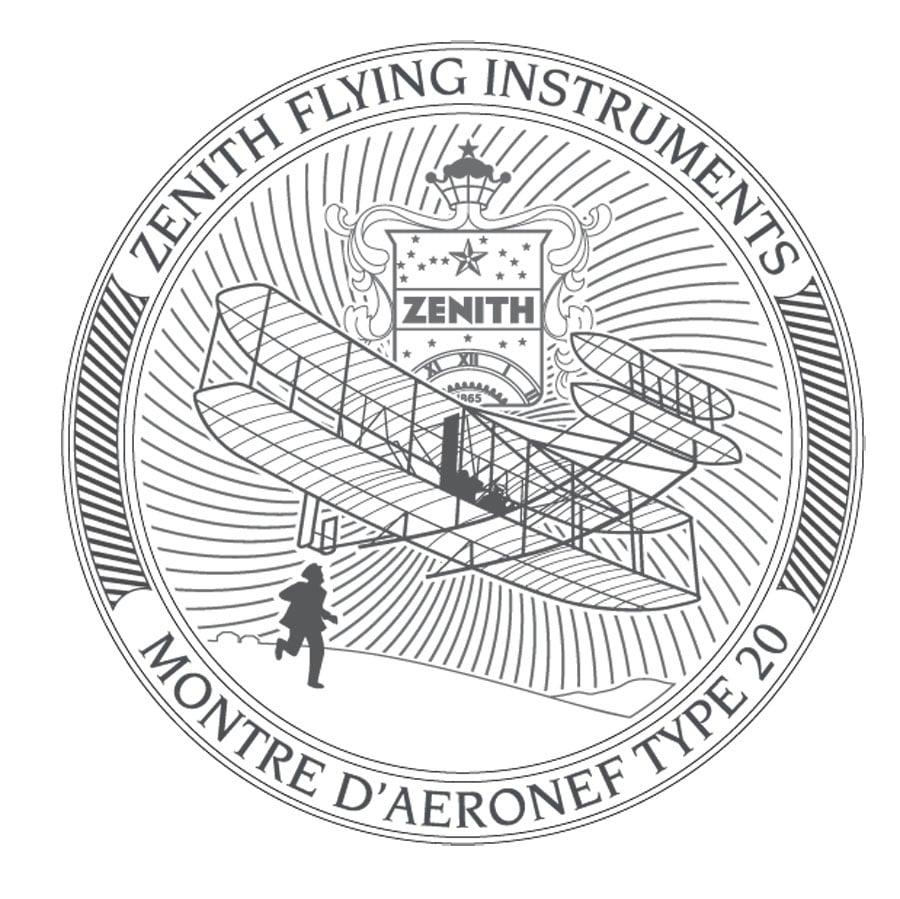 Zenith: Bodengravur der Pilot Montre d'Aéronef Type 20 GMT 1903
