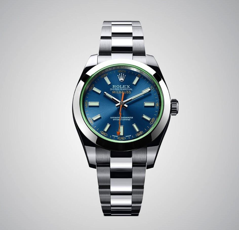Rolex Oyster Pepetual Milgauss: Ein z-blaues Zifferblatt unter dem markanten grünen Saphirglas charakterisiert das neue Modell.