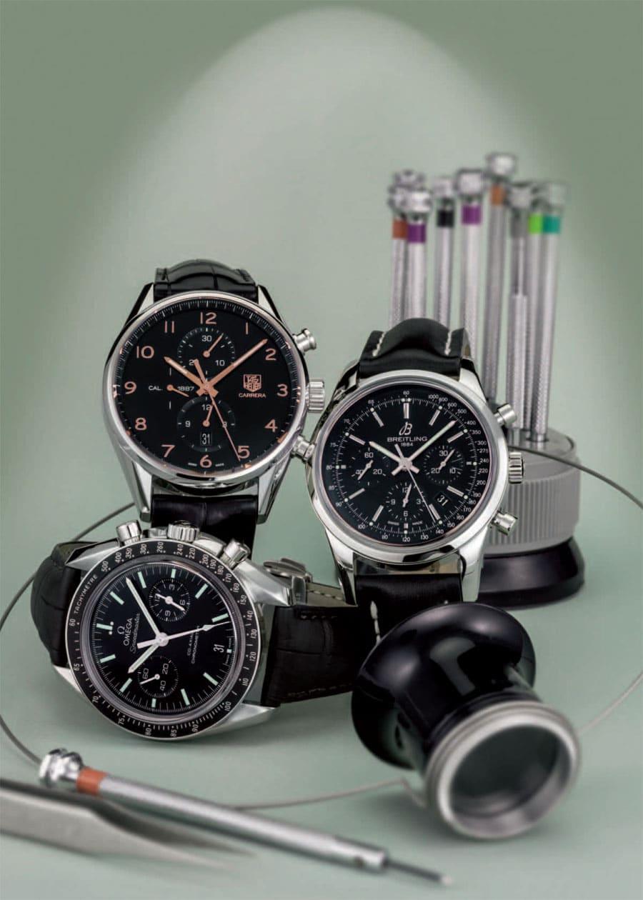 Manufakturchronographen von Omega, Breitling und TAG Heuer im Vergleichstest