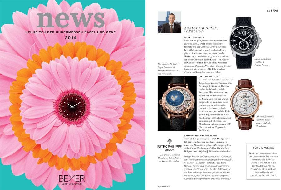 Chronos-Chefredakteur Rüdiger Bucher in der Kundenzeitschrift Beyond von Beyer Chronometrie