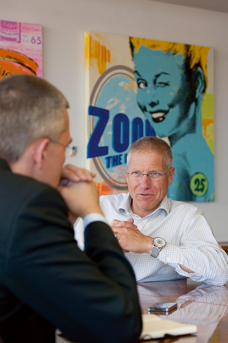 Chronos-Chefredakteur Rüdiger Bucher, Breitling-Vizepräsident Jean-Paul Girardin