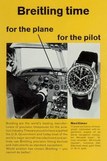 """Breitling-Werbung der 1950er-Jahre: """"Für das Flugzeug – für den Pilot"""""""