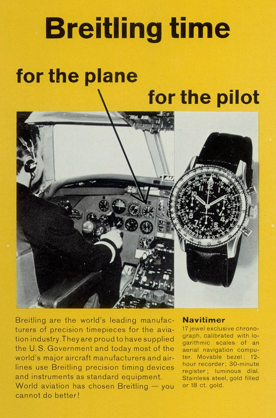 """Breitling-Werbung für den Navitimer der 1950er-Jahre: """"Für das Flugzeug – für den Pilot"""""""