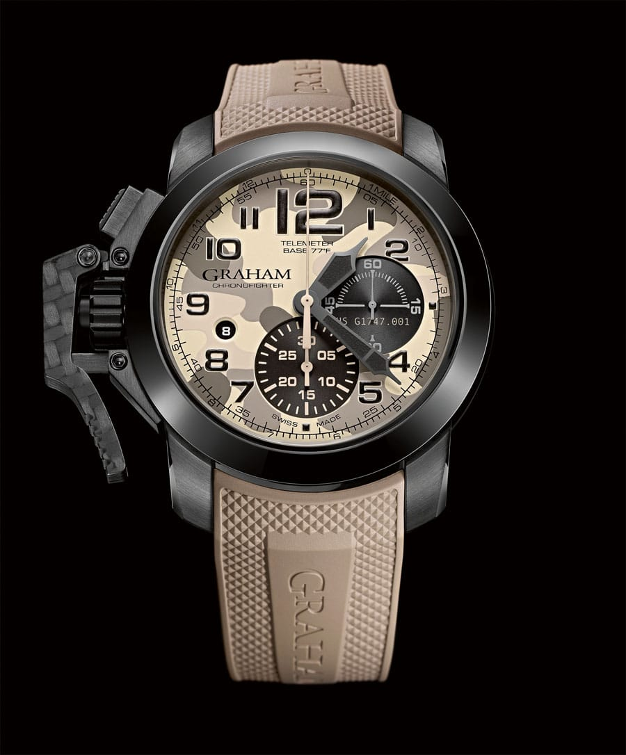 Der Chronofighter Oversize Black Arrow</br>zeigt Camouflage-Design.
