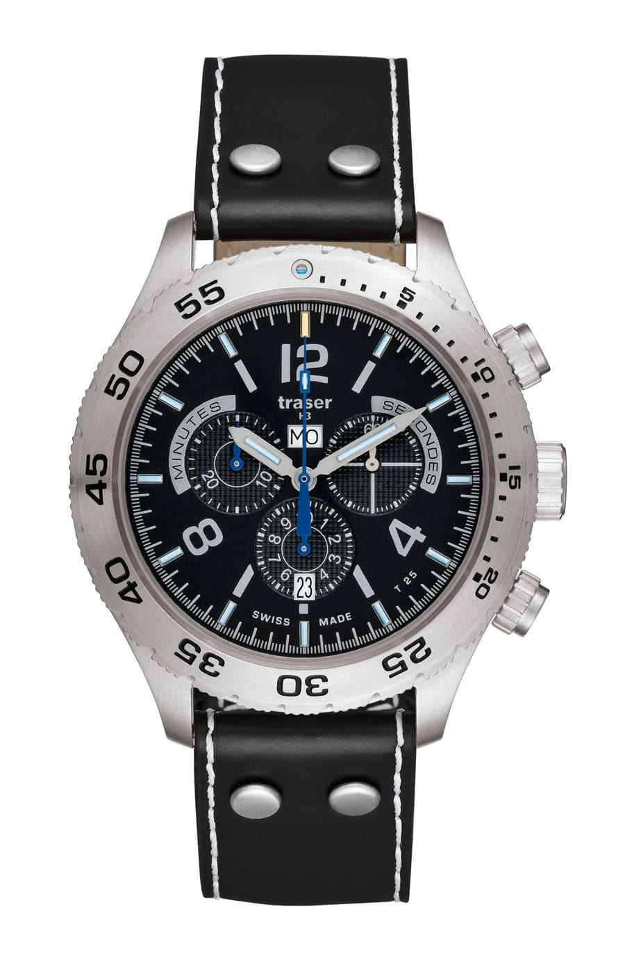 traser® H3 Classic Elegance Chronograph mit Lederarmband Aviator