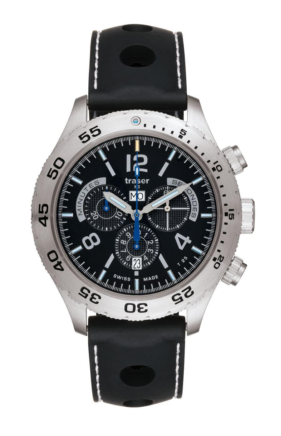 traser® H3 Classic Elegance Chronograph mit Silikonarmband Master