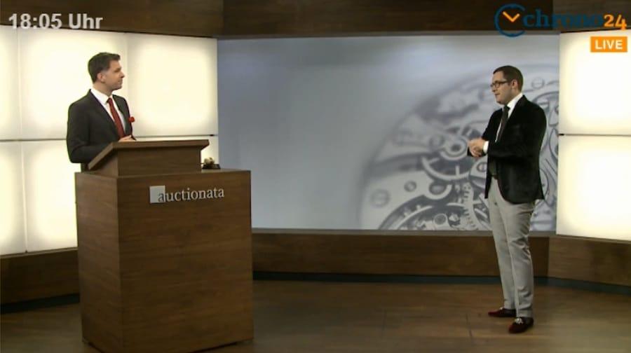 So sieht der Live-Stream von Auctionata aus: Auktionator Fabian Markus und Uhren-Experte Dr. Oliver Hoffmann während der Online-Versteigerung