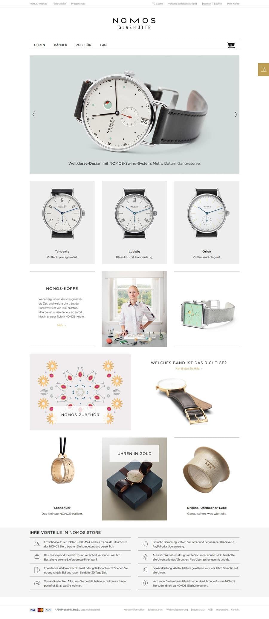 Nomos Glashütte: Onlinestore Relaunch