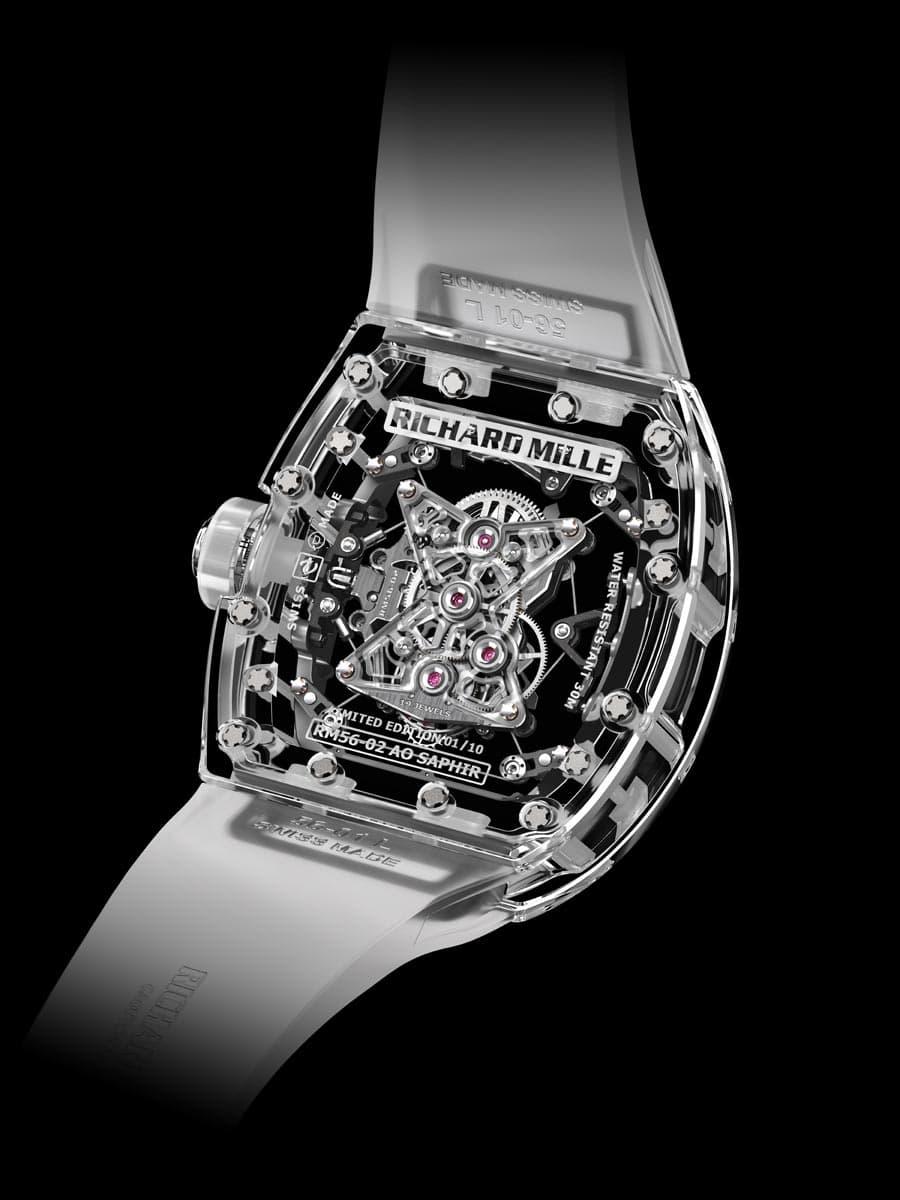 Richard Mille: Tourbillon RM 56-02 Sapphire, Rückseite