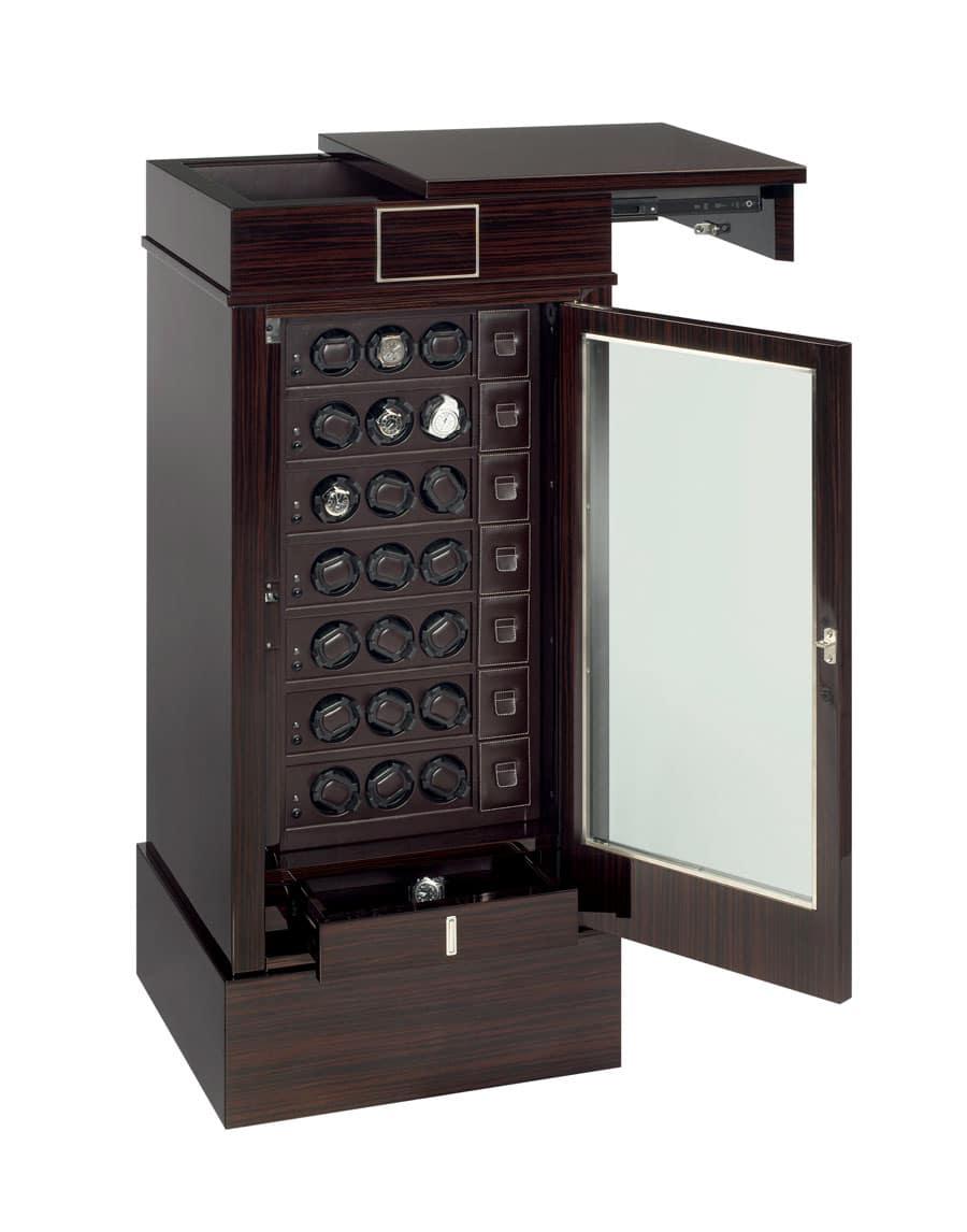 Das Modell 21RT EB OS von Scatola Del Tempo besitzt eine Fronttür aus schusssicherem Panzerglas und einen Fingerabdruck-Scanner