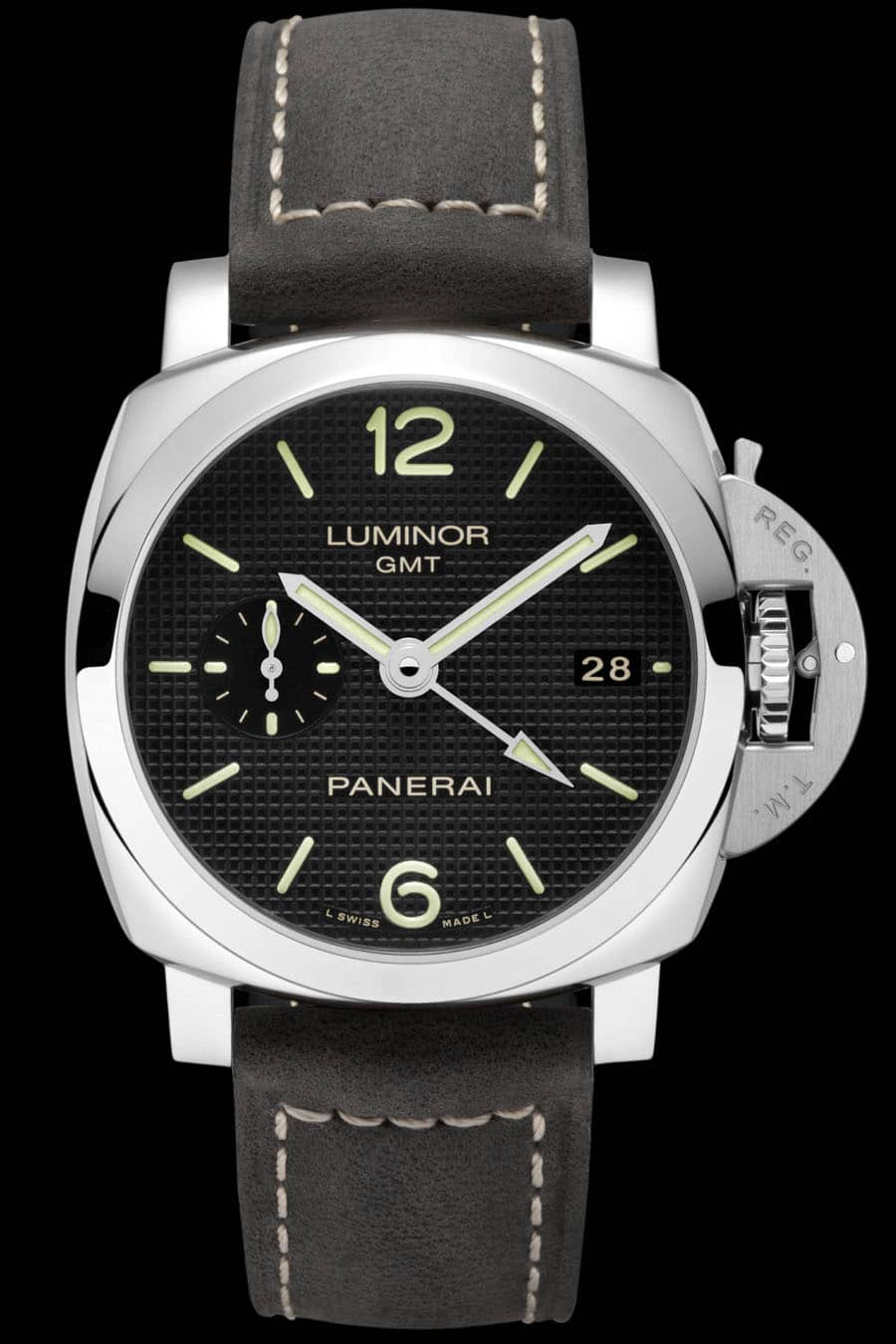 Panerai: Luminor 1950 3 Days GMT Automatic Acciaio, rückseitige Gangreserveanzeige