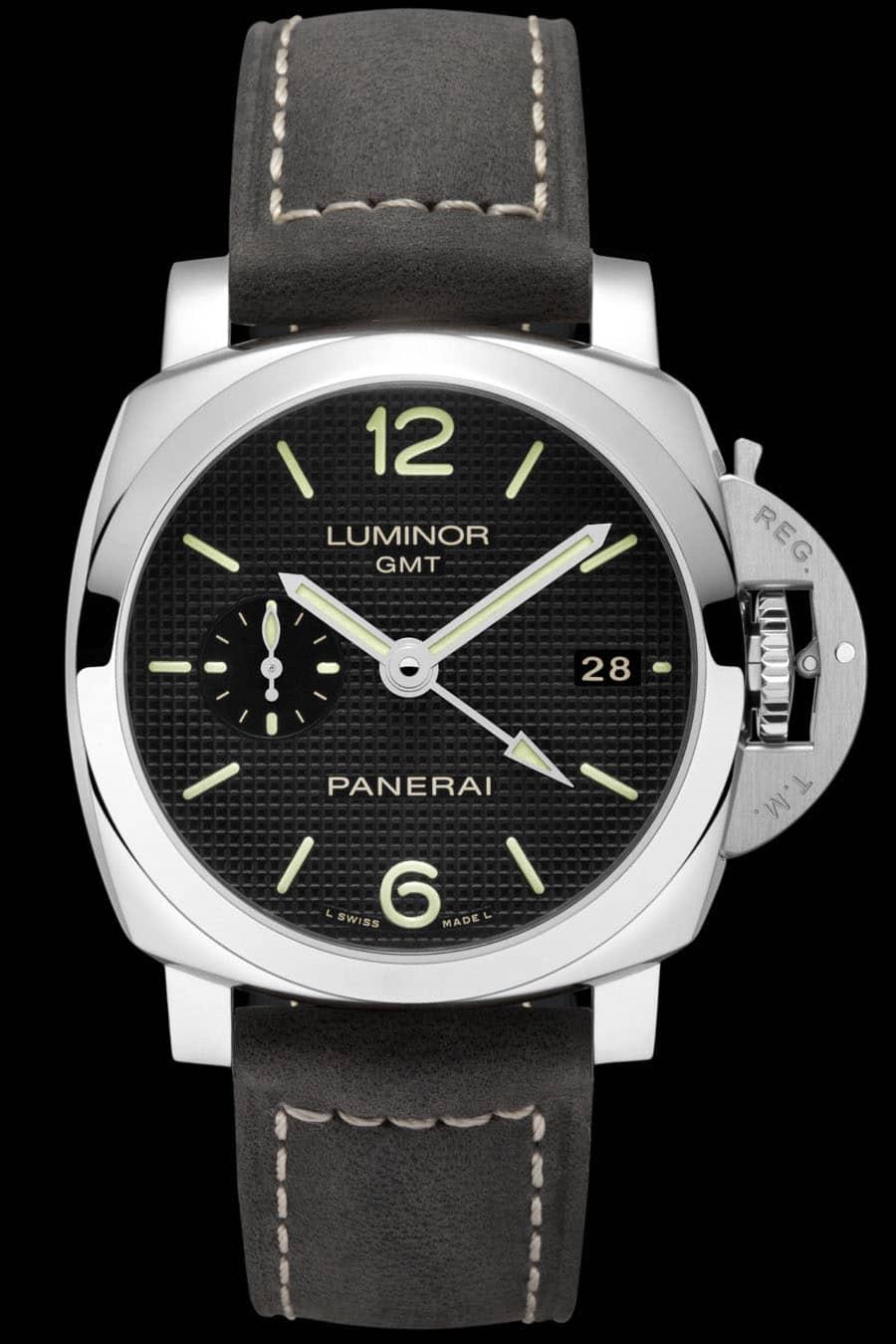Panerai: Luminor 1950 3 Days GMT Automatic Acciaio, rückseitige Gangreserveanzeige