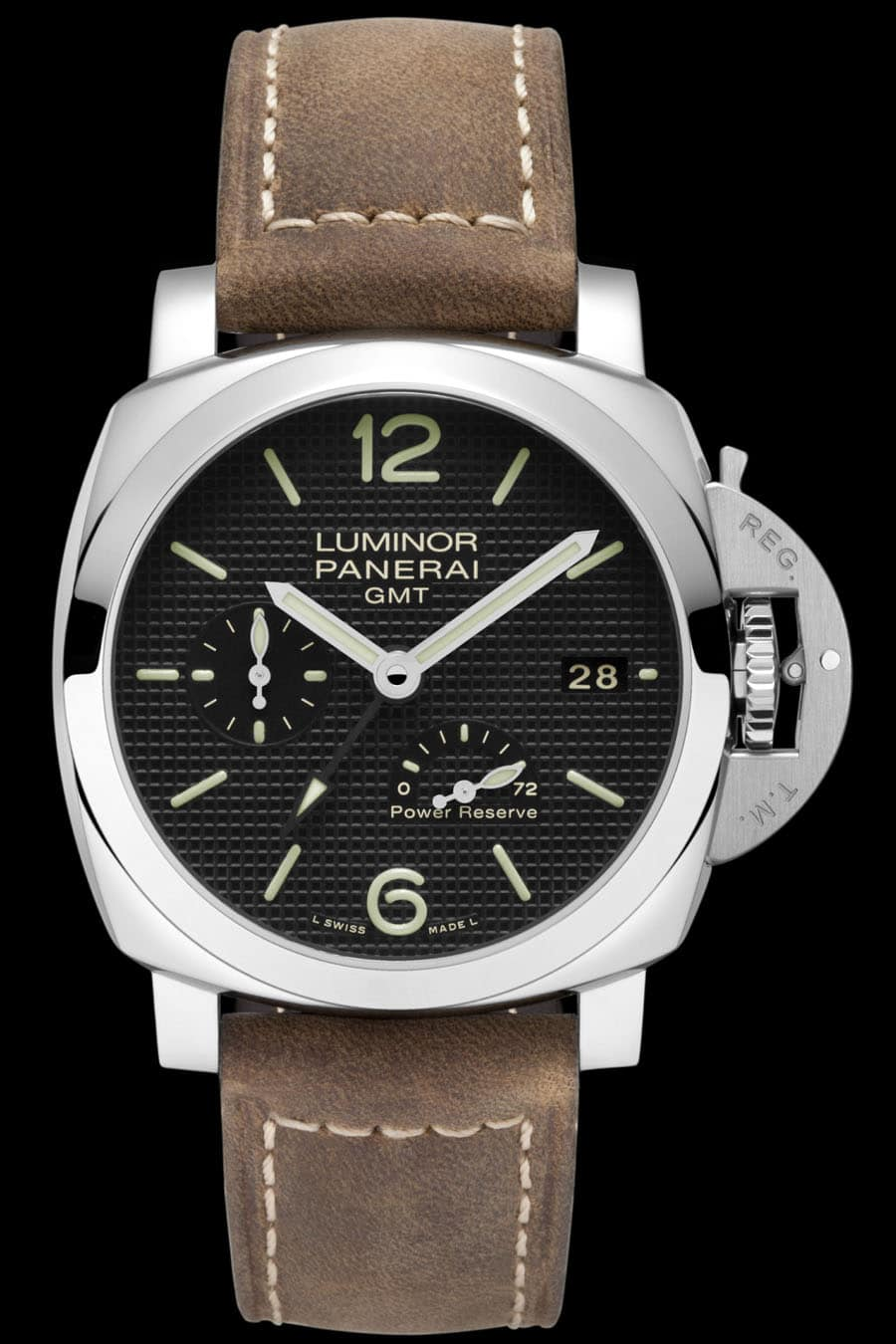 Panerai: Luminor 1950 3 Days GMT Automatic Acciaio, vorderseitige Gangreserveanzeige