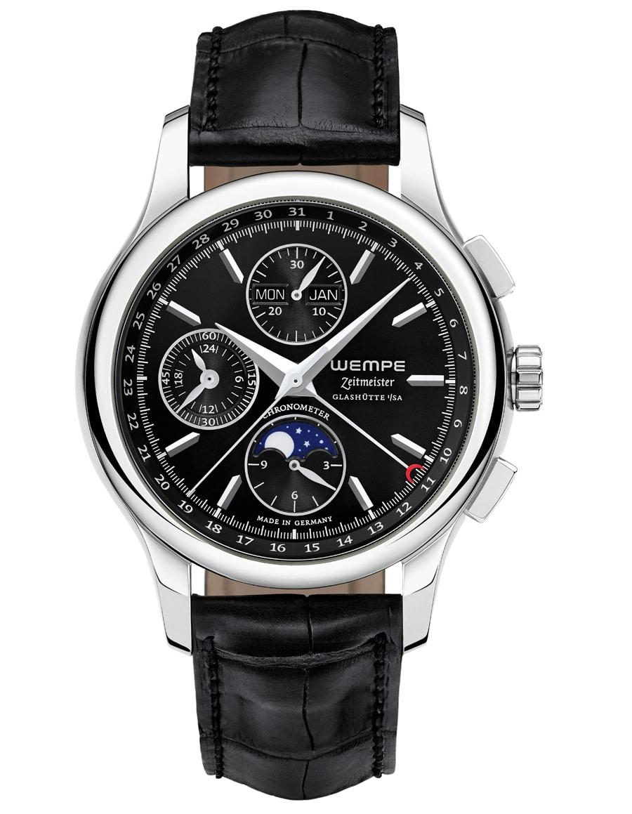 Wempe: Zeitmeister Chronograph Vollkalender Mondphase, schwarzes Zifferblatt, Lederband