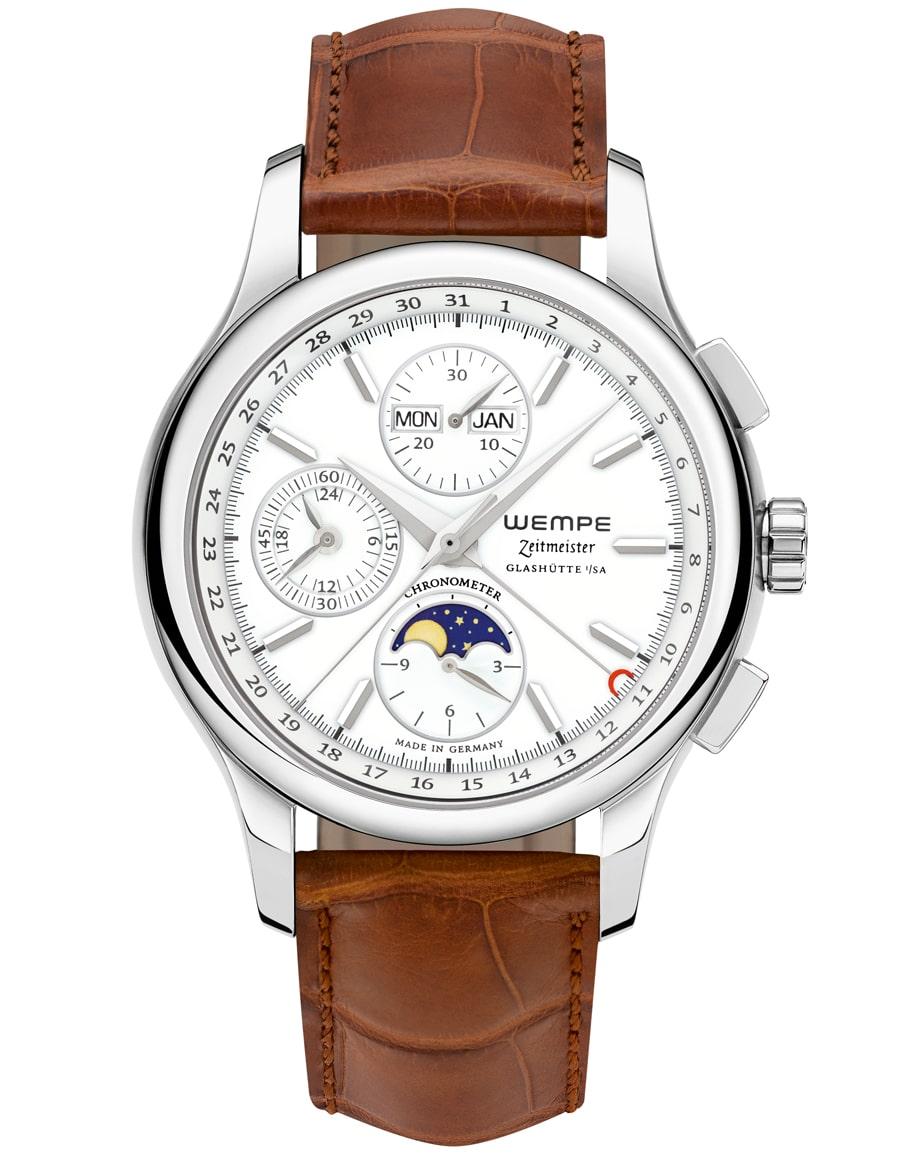 Wempe: Zeitmeister Chronograph Vollkalender Mondphase, versilbertes Zifferblatt, Lederband