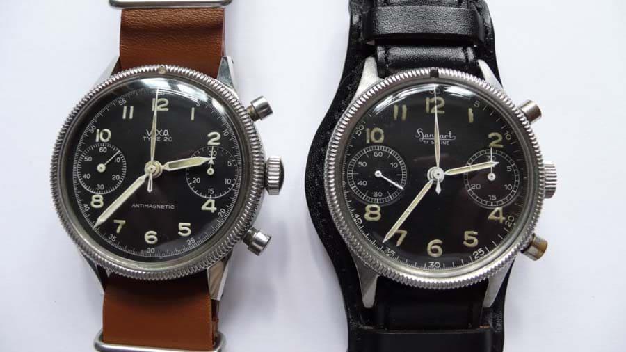 Ein Vixa-Chronograph für die Franzosen und eine Hanhart für die Bundeswehr. (Foto: Walter Castillo)