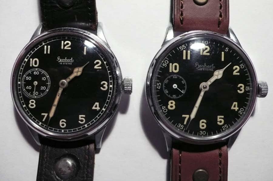 Zwei Dreizeiger-Fliegeruhren von Hanhart: links aus der Kriegszeit, rechts Nachkriegsära. (Foto: Walter Castillo)