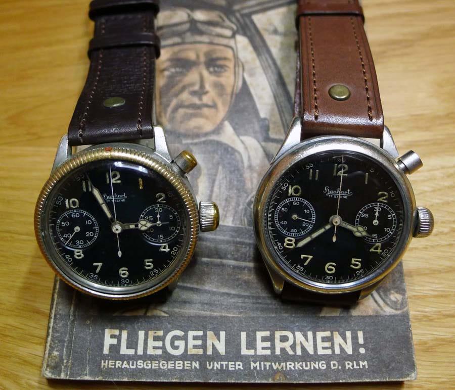 Zwei Eindrückerchronographen von Hanhart,</br>links mit und rechts ohne Drehlünette (Foto: Walter Castillo)